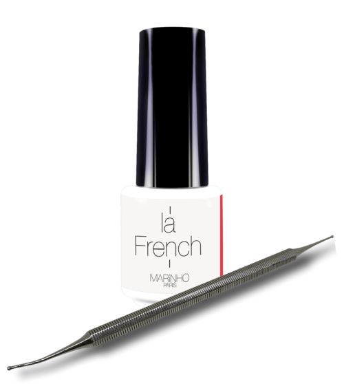 semi-permanent white varnish for french manicure Marinhoparis with dotting tool