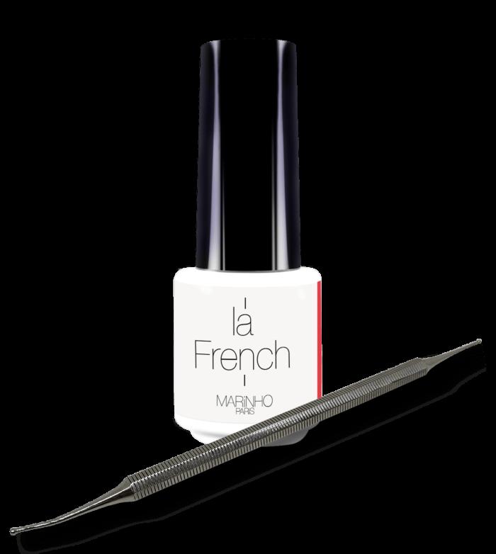 vernis semi-permanent blanc pour french manucure marinho paris avec dotting tool
