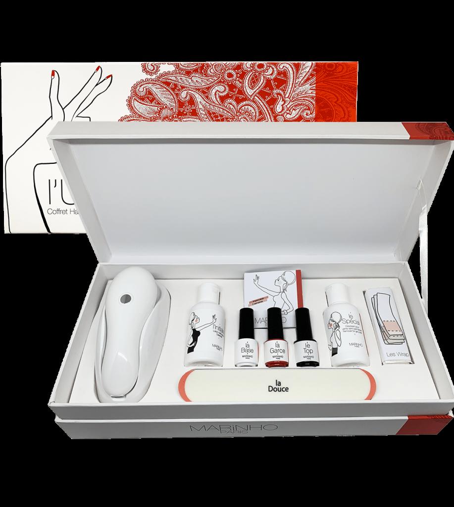 coffret cadeau manucure marinho paris avec vernis semi-permanent rouge, base, top, lotion, lime polissoir et dissolvant et lampe blanche leds. coffret rouge unique
