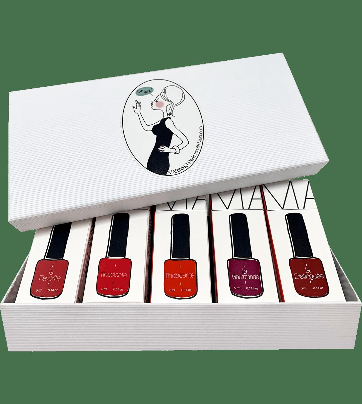 coffret cadeau marinho paris avec 5 vernis semi-permanent rouge dans boite blanche