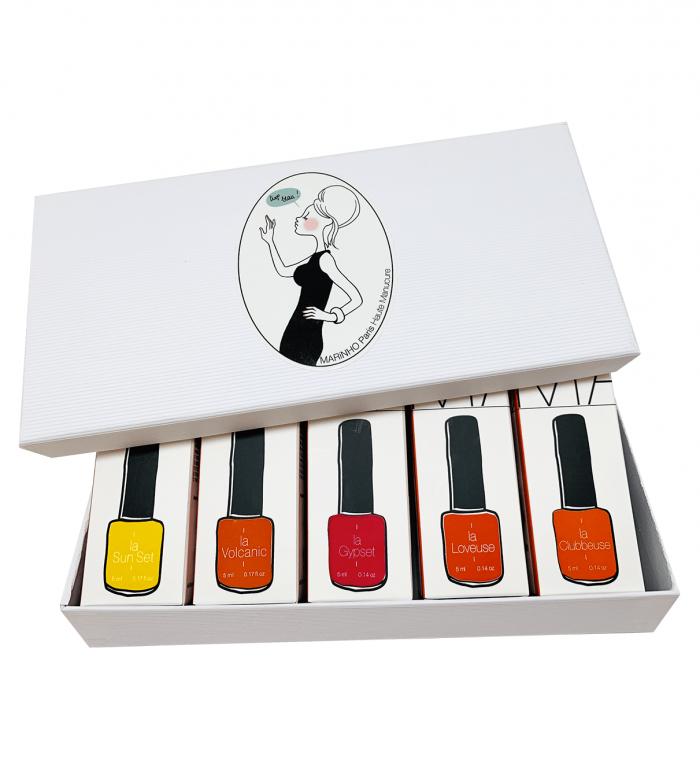 coffret cadeau marinho paris avec vernis semi-permanent jaune, vernis semi-permanent orange et vernis semi-permanent rouge dans boite blanche