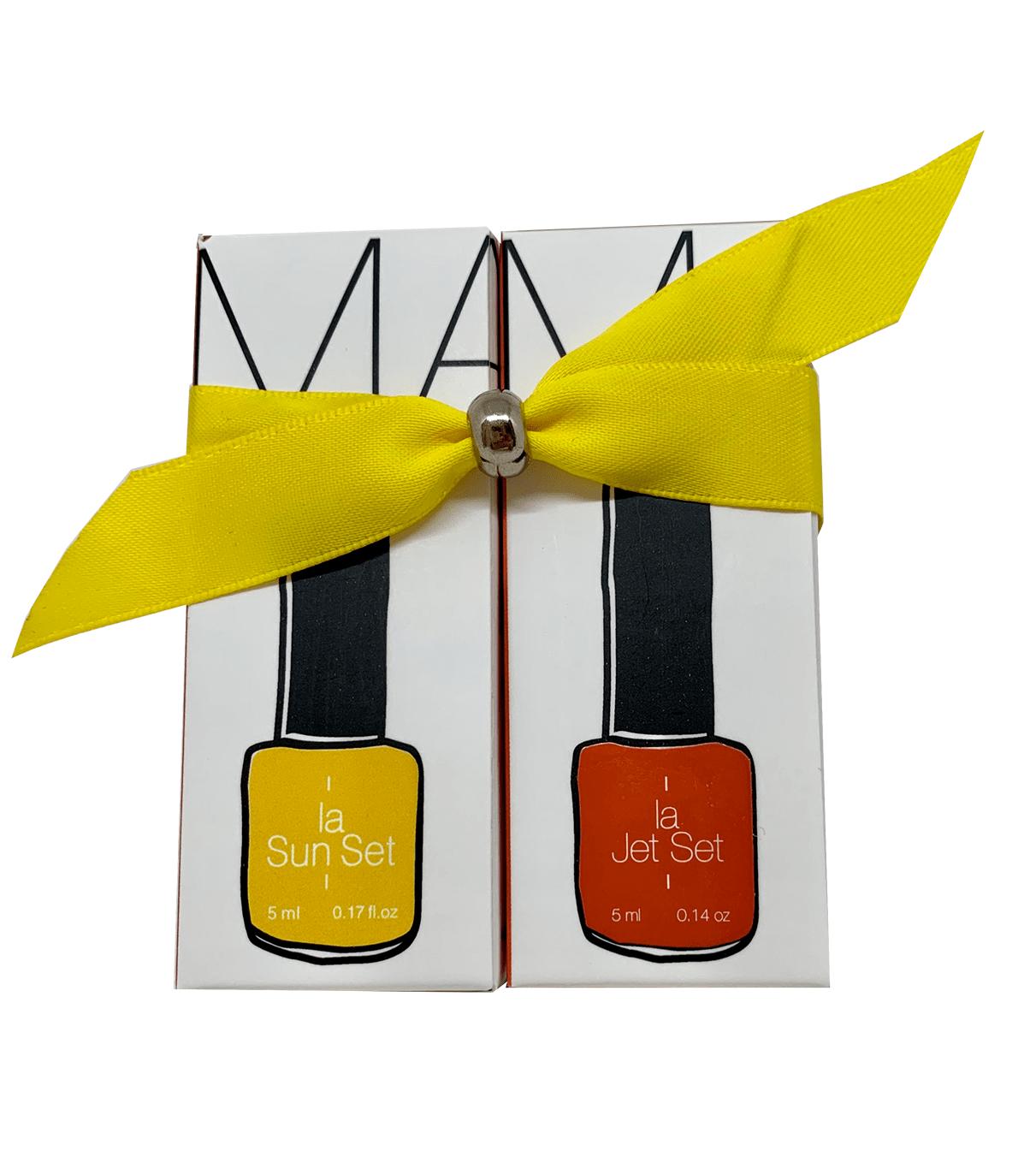 coffret cadeau marinho paris avec vernis semi-permanent jaune et vernis semi-permanent orange et ruban jaune