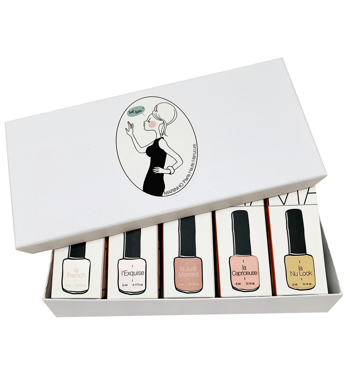 coffret cadeau marinho paris avec vernis semi-permanent blanc, vernis semi-permanent rose et vernis semi-permanent nude dans boite blanche