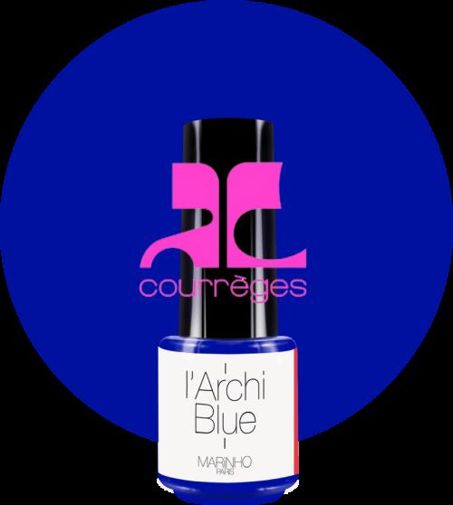 vernis semi-permanent bleu marinho paris bleu sur rond avec logo courrèges rose
