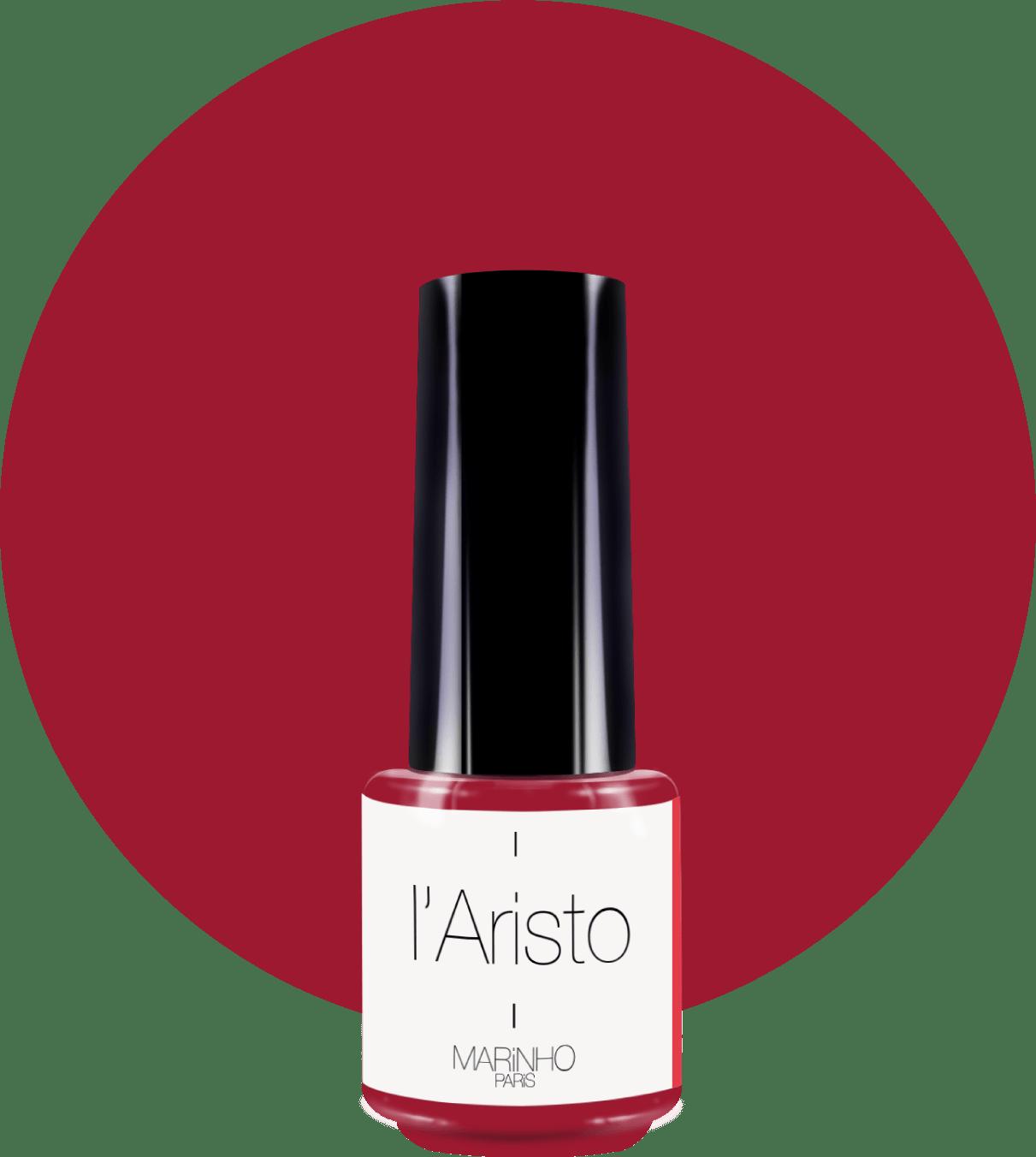 vernis semi-permanent rouge marinho paris sur rond rouge