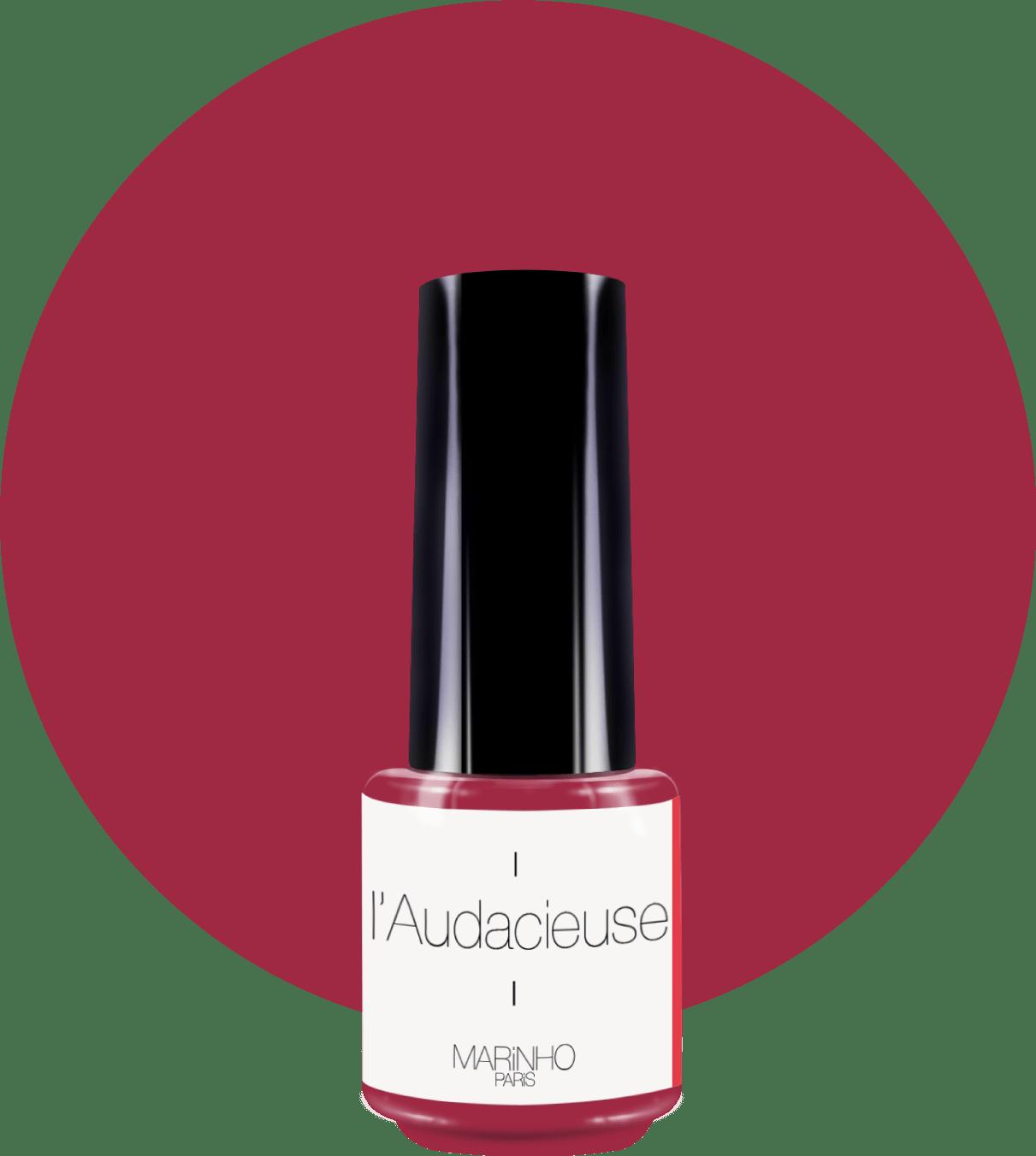 vernis semi-permanent rouge lie de vin marinho paris sur rond rouge