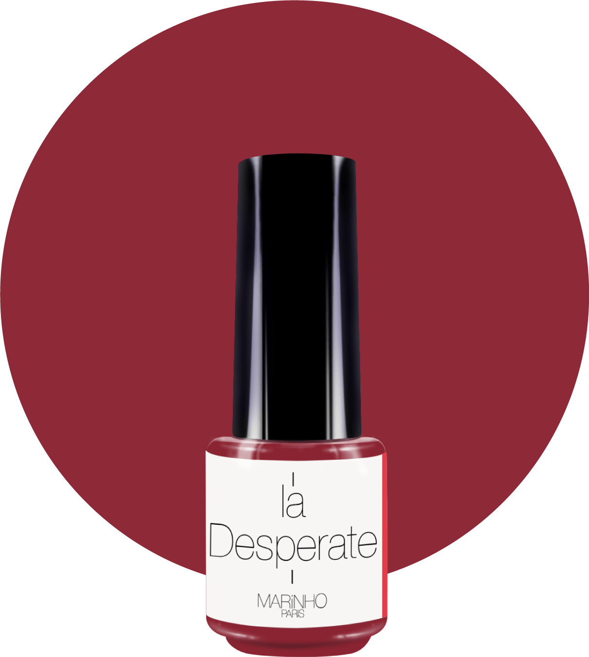 vernis semi-permanent bordeau rouge marinho paris sur rond bordeau