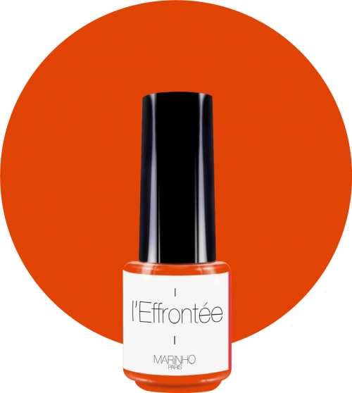 vernis semi-permanent orange marinho paris sur rond orange
