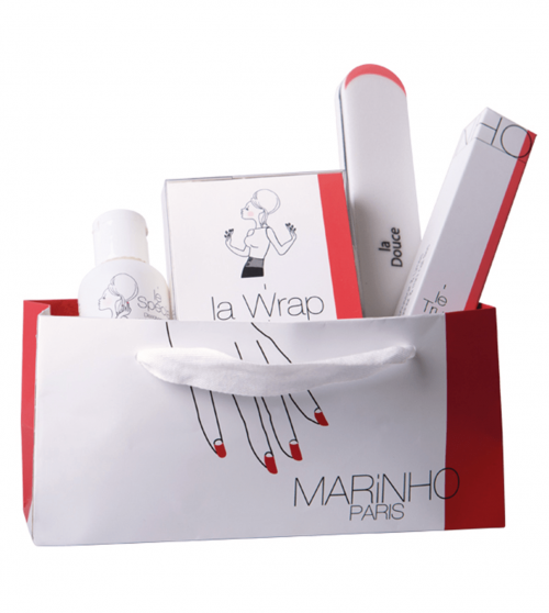 Marinhoparis removal kit with solvent, wrap strips, soft polishing file and cuticle pusher