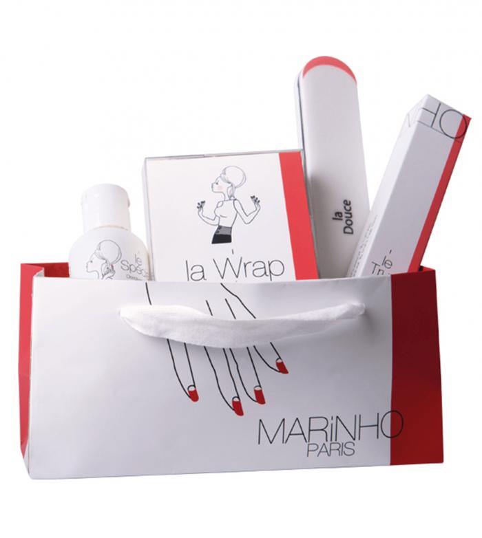 kit de depose marinho paris avec dissolvant, bandes wrap, lime polissoir douce et repoussoir cuticule
