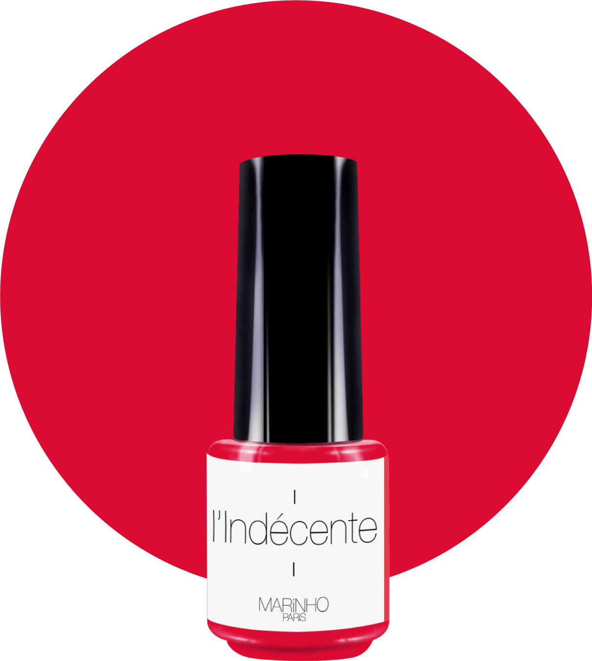 vernis semi-permanent rouge marinho paris sur rond rouge