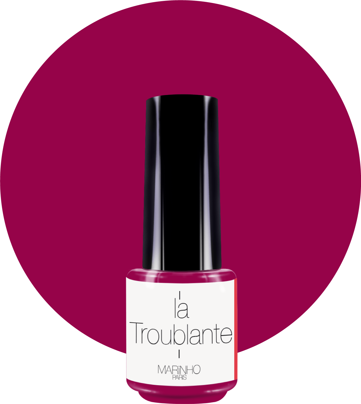 vernis semi-permanent rouge-rose marinho paris sur rond rouge rose