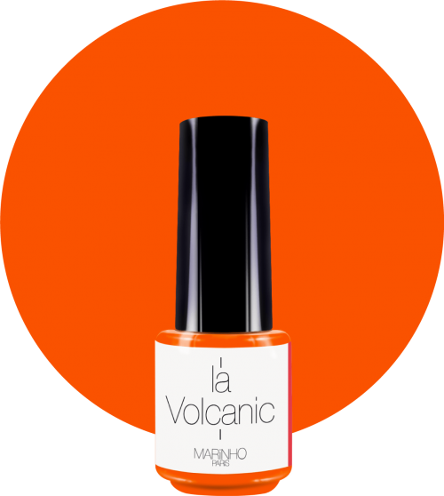 vernis semi-permanent orange fluo marinho paris sur rond orange fluo