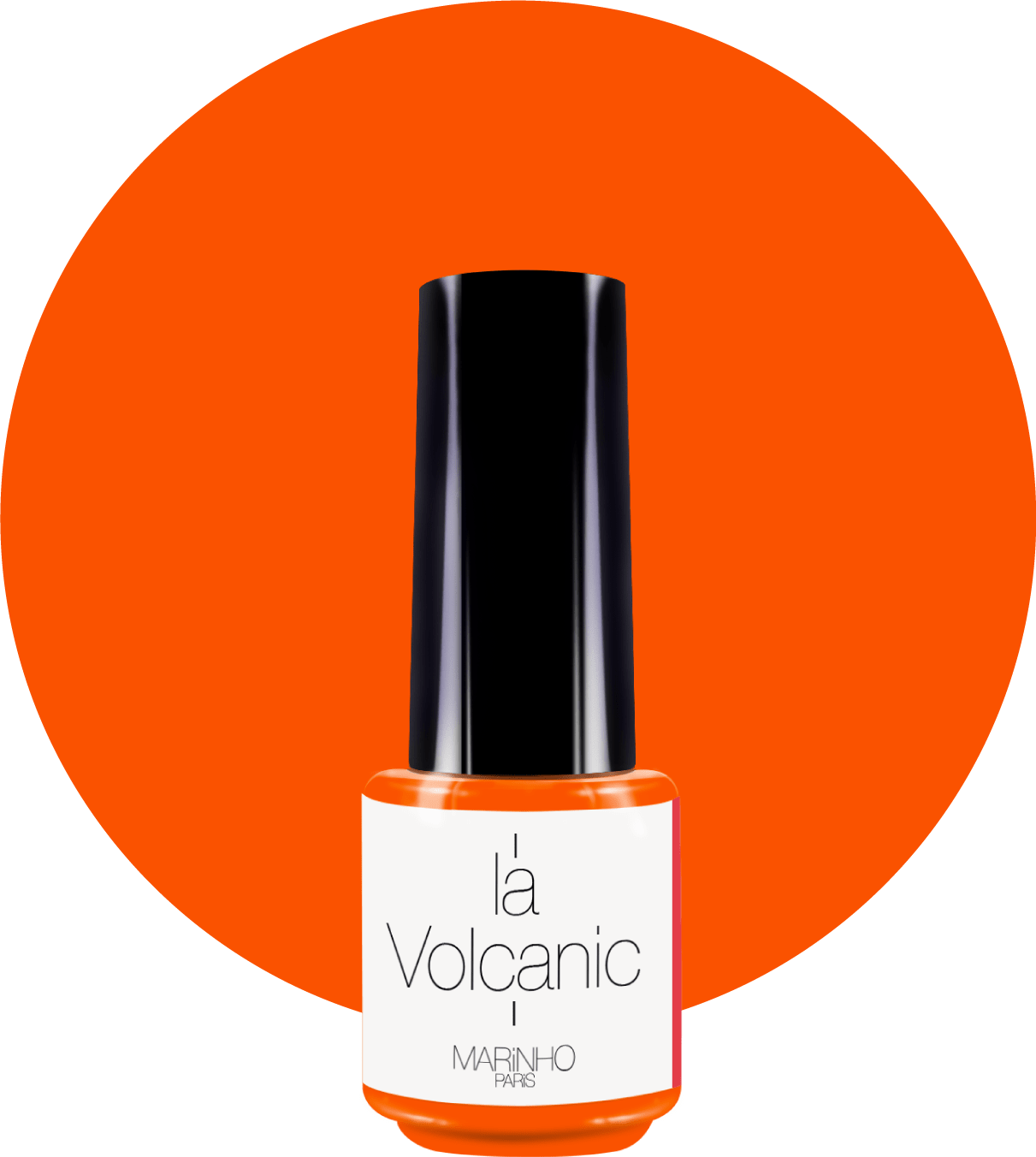 vernis semi-permanent orange fluo marinho paris sur rond orange fluo
