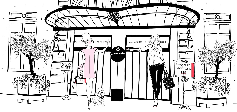 illustration marinho paris avec pin up, robe courrèges devant l'hotel la maison champs elysées et la table du huit. panneau manucures sur rendez-vous, oliviers et service voiturier