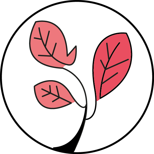 logo vegan marinhoparis illustration plante avec feuilles rouges