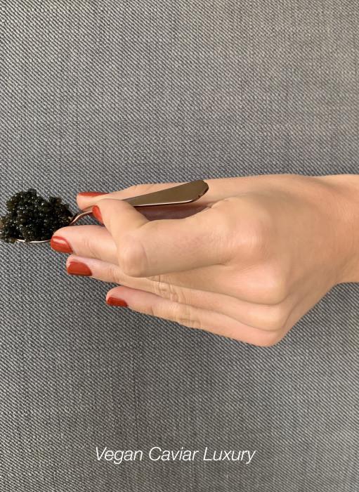 main avec vernis rouge brique qui tient une petite cuillère Astier de la Villatte avec du caviar vegan