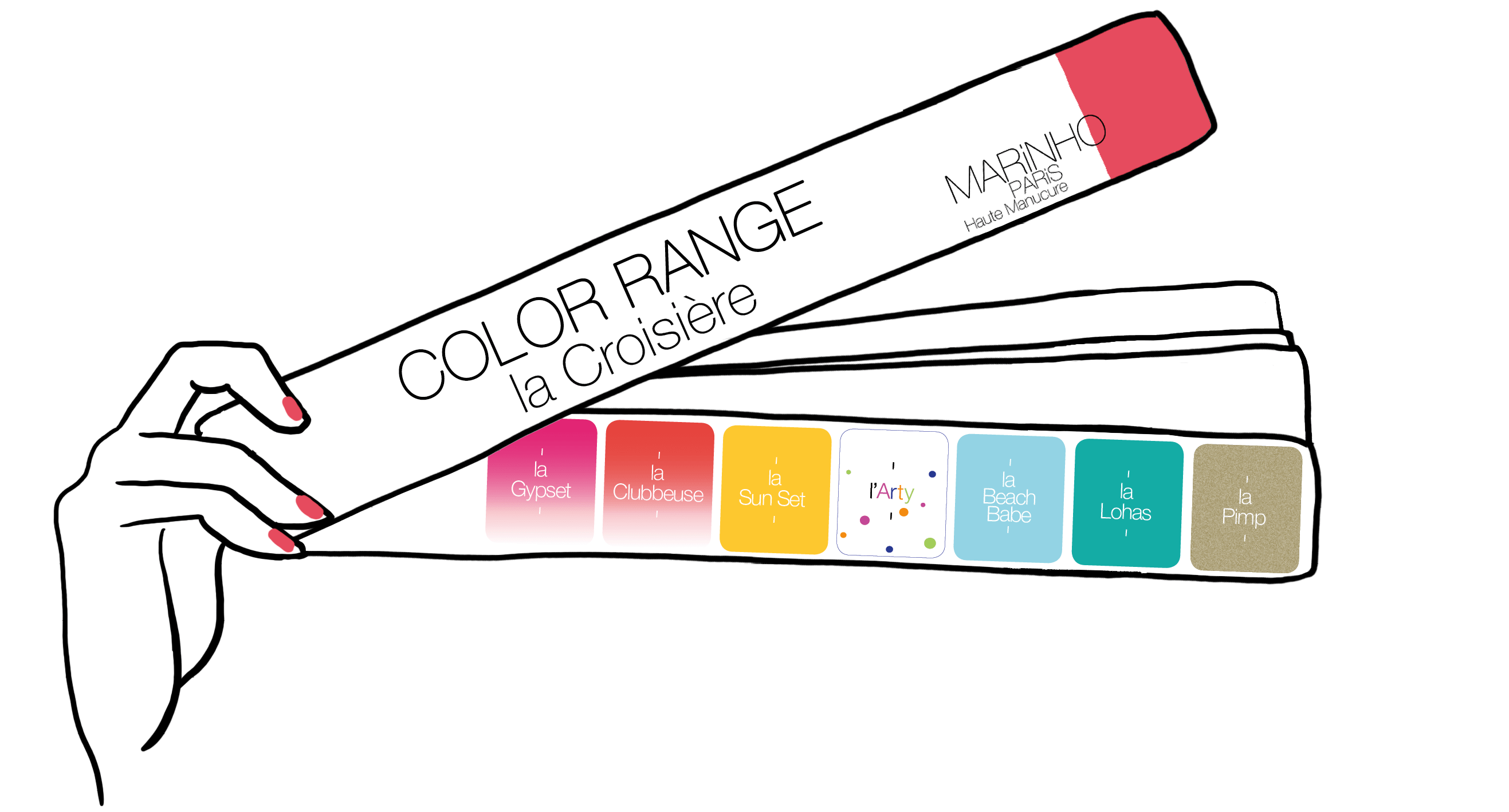 gamme couleur marinho paris été 2019 pour la croisière. Vernis rose, orange, bleu, jaune et doré