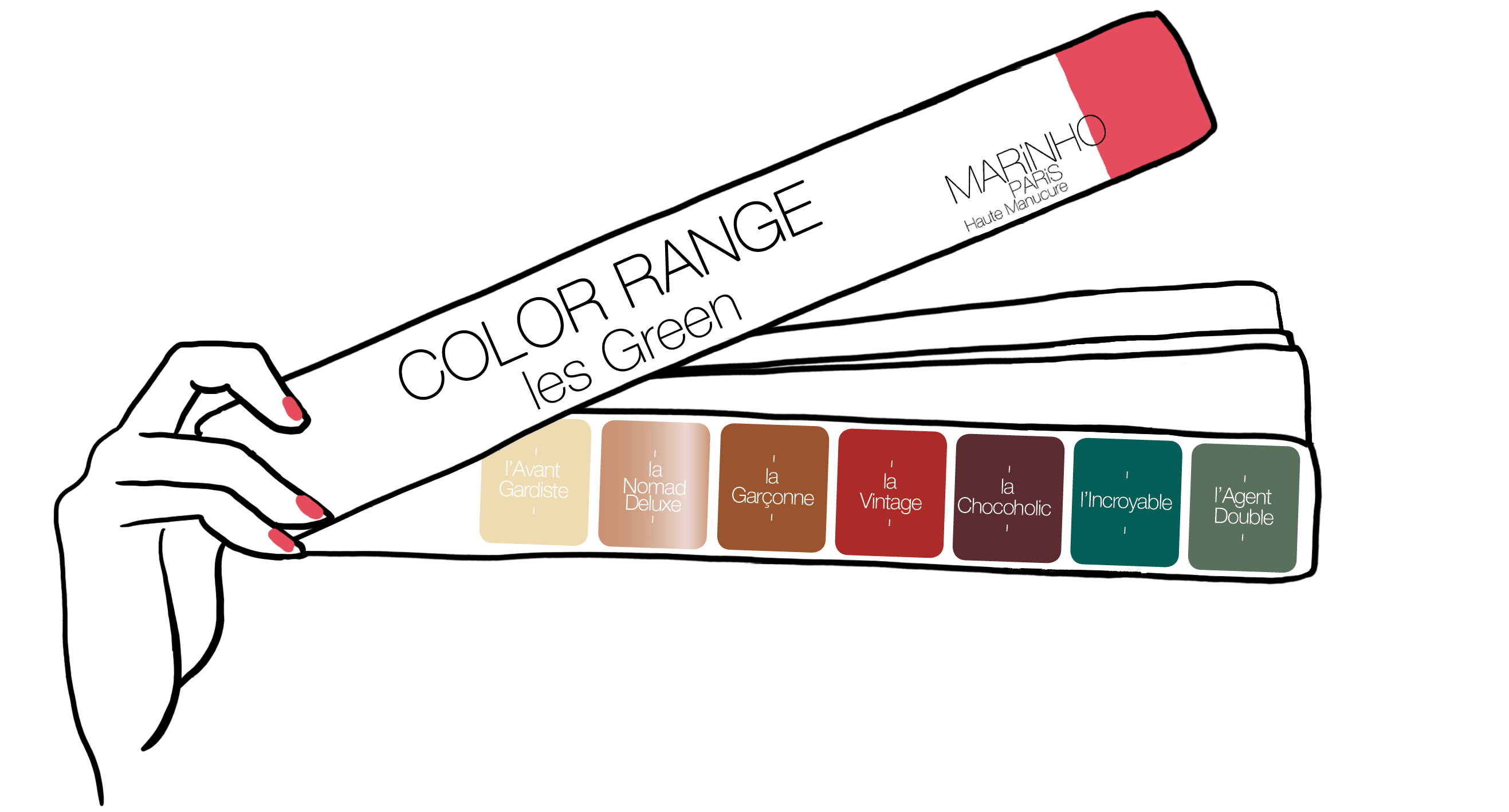 gamme couleur marinho paris été 2019 pour la croisière. Vernis nude, rouge, marron, vert