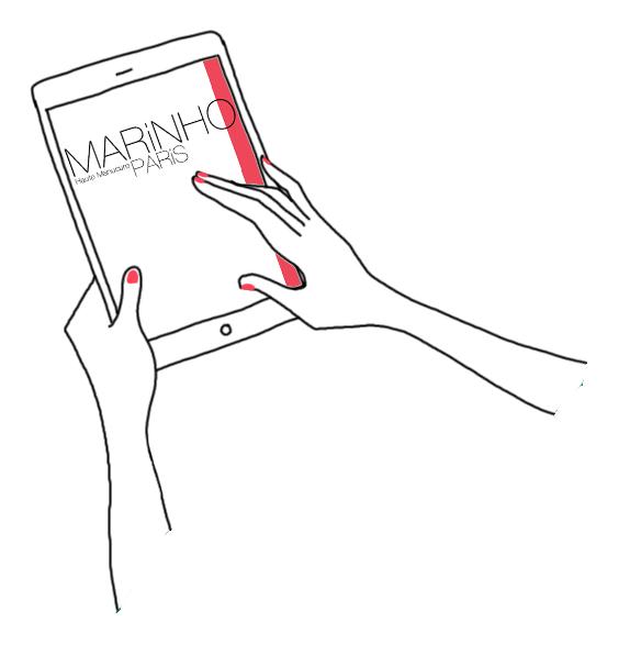 illustration mains qui tiennent une tablette marinho paris