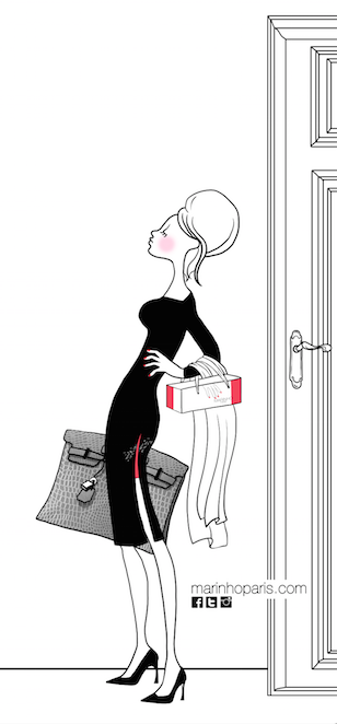 illustration pin up marinho paris avec sac à main gris, escaprins noirs, robe noir et rouge et shopping bag rouge