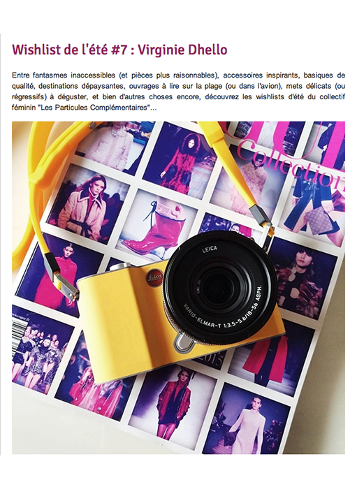 article marinho paris wishlist de l'été par virginie dhello. visuel appareil photo jaune sur polaroid