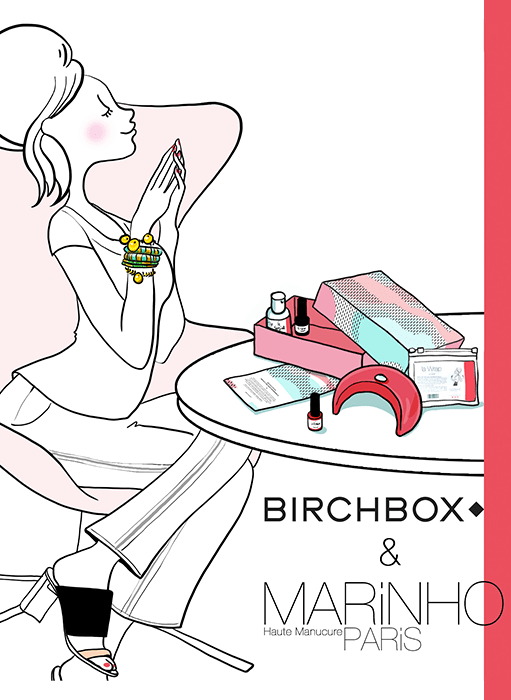 illustration pin up marinho paris avec birchbox et coffrets cadeau contenant lampe led rose et vernis semi-permanents