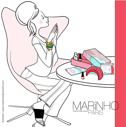 illustration pin up marinhoparis devant box birchbox avec lampe leds rose, vernis semi-permanent