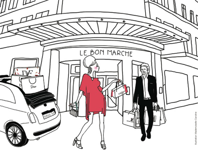 illustration marinho paris devant le bon marché à paris avec voiturier, sacs louis vuitton, sacs dior et shopping bag marinhoparis