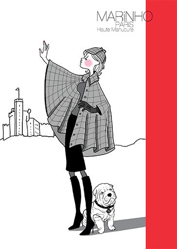 illustration marinho paris qui part à la chasse avec bouledogue français