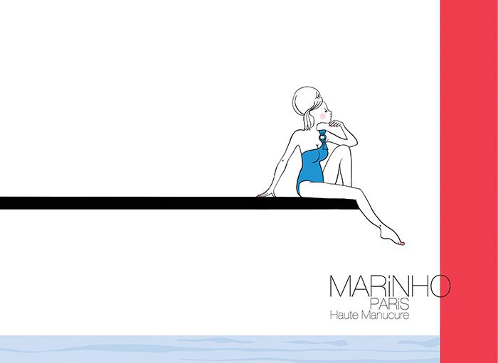 illustration marinho paris sur un plongeoir imitation lady di. elle porte un maillot de bain bleu