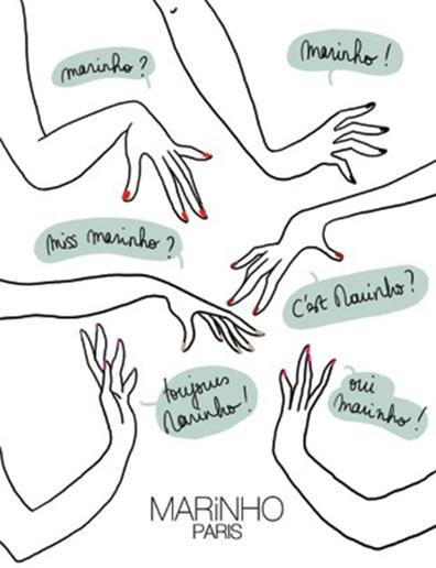 illustratio marinho paris mains avec vernis à ongle rouge et vernis à ongle nude