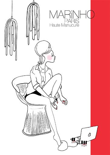 illustation marinho paris avec pin up sur un fauteuil qui se fait les ongles des pieds avec un vernis rouge/ La lampe pour le séchage du vernis semi-permanent est branchée sur un mac