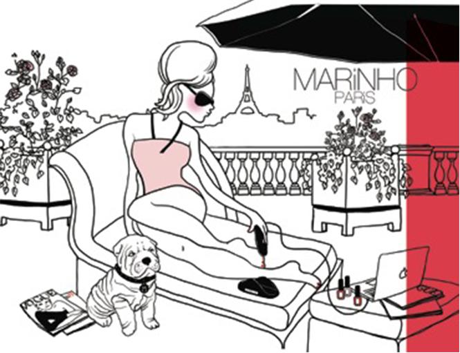 illustration marinho paris sur un balcon parisien avec vue sur la tour eiffel. les pin up est accompagnée d'un bouledogue fraçais et lit le magazine Vogue en se faisant les ongles avec une lampe leds marinho paris branchée à un mac et un vernis à ongle rouge