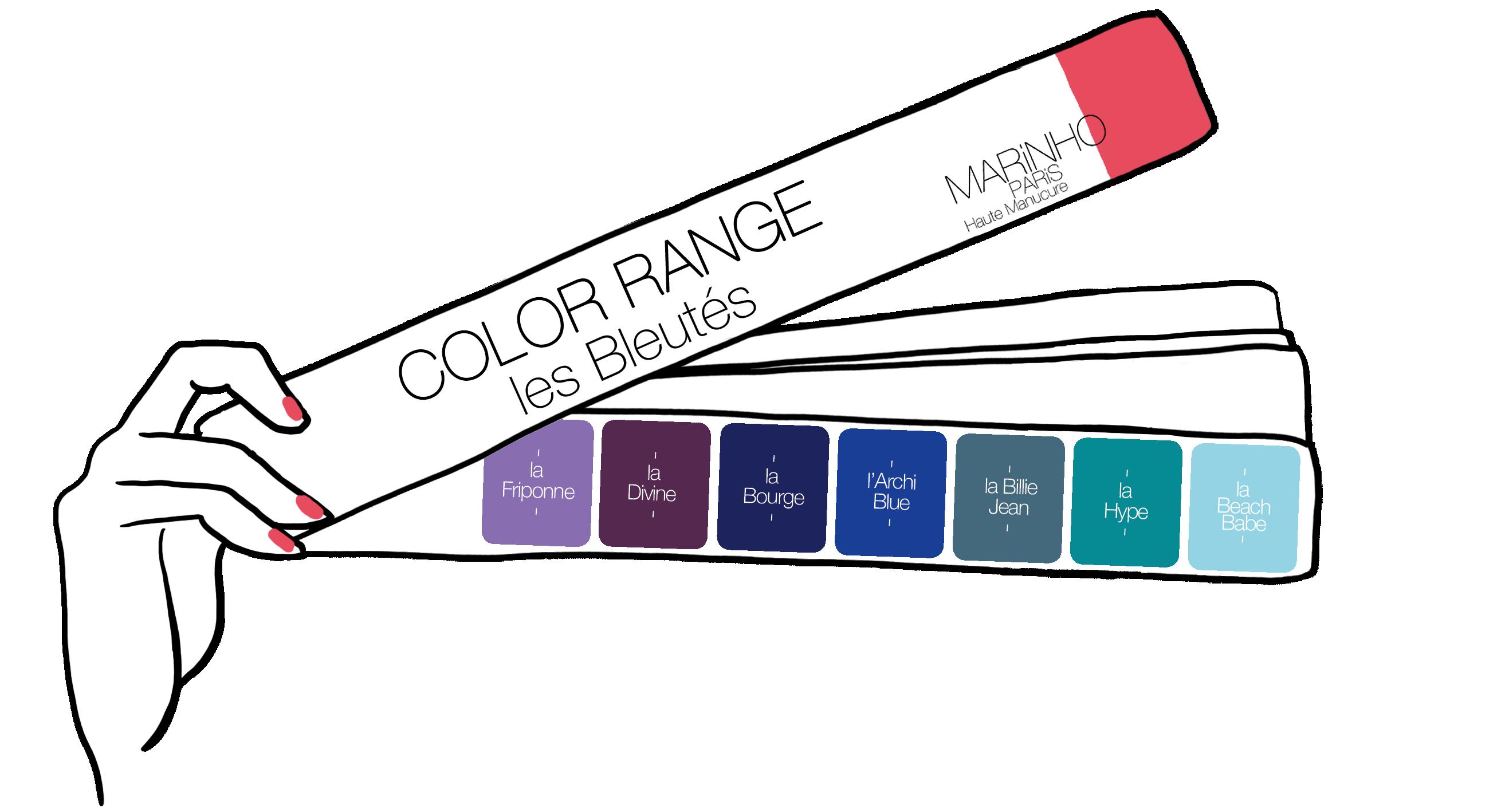 gamme couleur vernis à ongles marinho paris nuances de bleu