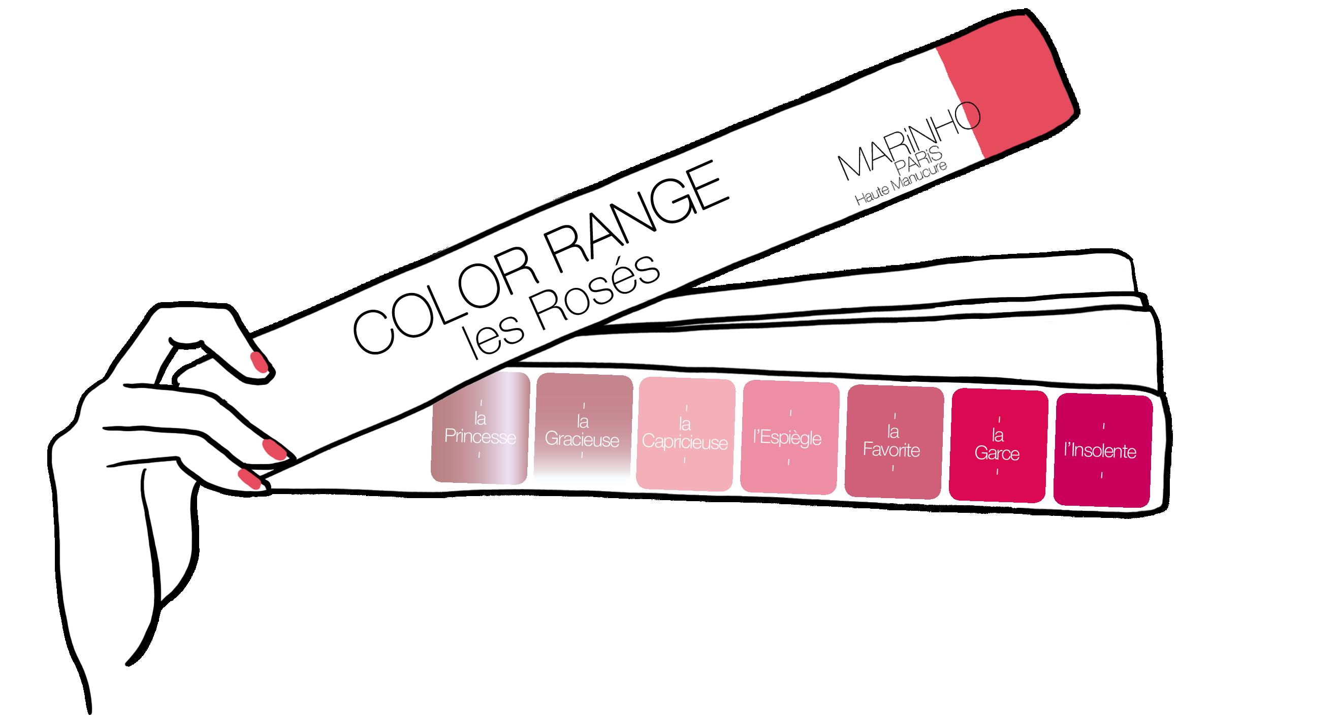 gamme couleur vernis à ongles marinho paris nuances de rose