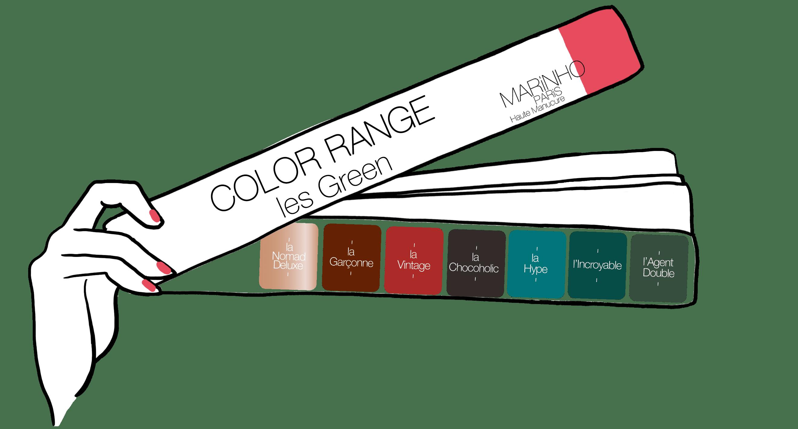 pantone avce gamme de couleurs vertes, nuance de verts, couleurs green